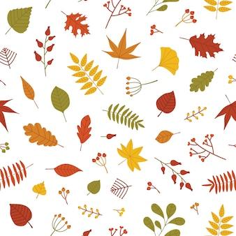 倒れた木の葉と果実の小枝と秋のシームレスパターン