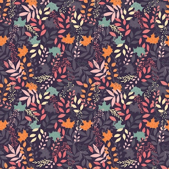Autumn seamless pattern with floral decorative elements