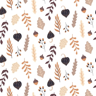 Autumn seamless pattern with floral elements.