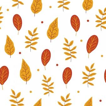 Осенний бесшовный узор с цветами