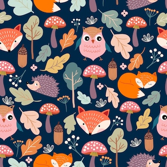 Autumn seamless pattern with funny animals