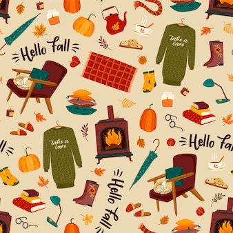 Autumn seamless pattern with homely cute things