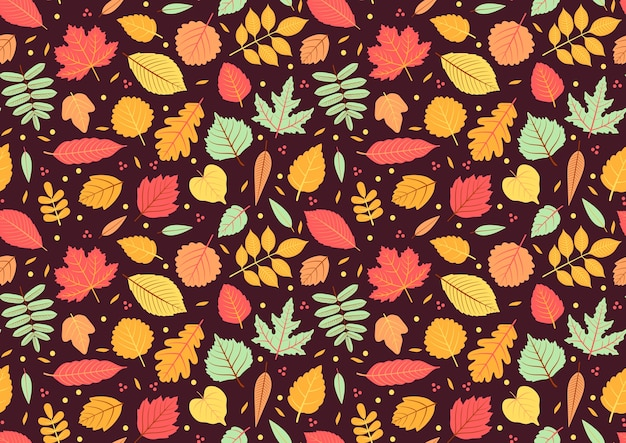Autumn seamless pattern with leaf, autumn leaf background. abstract leaf texture. cute backdrop. leaf fall. colorful leaves. dark violet background. the elegant the template for fashion prints.