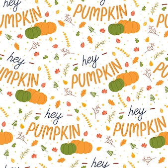Autumn seamless pattern with leaves and