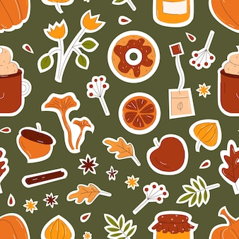Autumn seamless pattern with leaves, mushrooms, pumpkin in flat hand drawn style