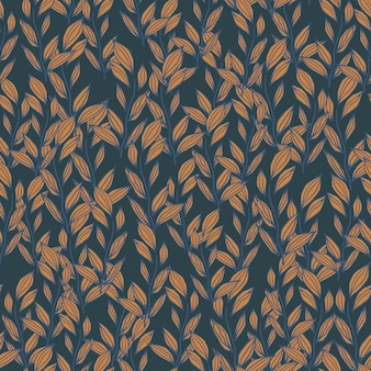 Autumn seamless pattern with little foliage ornament. fall floral print in orange and navy blue tones.