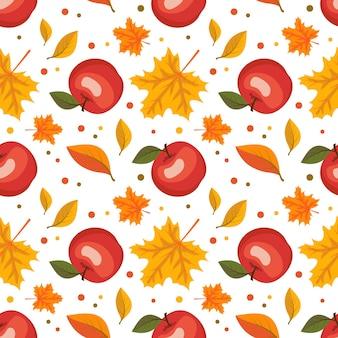 Осенний бесшовный образец с кленовыми листьями и красными яблоками, урожай и осенний принт