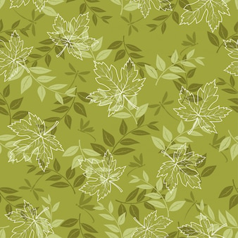 Autumn seamless pattern with maple leaves and dragonfly on pastel green