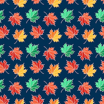 Autumn seamless pattern with maple leaves.