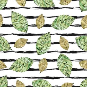 ストライプのテクスチャにモダンな葉と秋のシームレスなパターン。ベクトルテキスタイルプリント、ファブリックデザイン