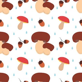 Осенний фон с грибами и желудями падение векторные иллюстрации