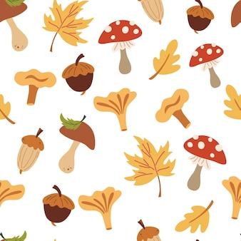 버섯과 잎이을 완벽 한 패턴입니다. 가 숲입니다. 떨어지는 잎, 도토리, 버섯. 포장지, 직물, 표지 및 카드용 꽃무늬 디자인. 만화 스타일의 벡터 일러스트 레이 션