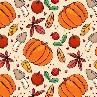 きのこと葉の秋のシームレスパターン。手描き漫画スタイルのベクトル図