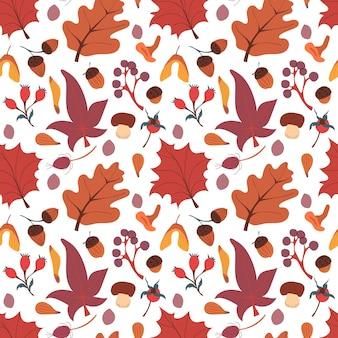 Осенний фон с грибами оставляет желуди и ягоды
