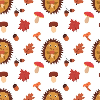 Осенний фон с грибами, листьями, желудями и ежиком. падение векторной картины.