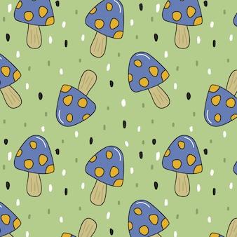 Autumn seamless pattern with mushrooms