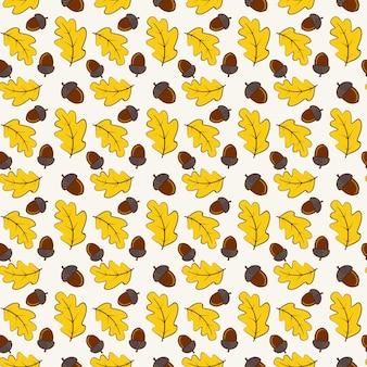떡갈나무 잎과 도토리가 있는 가을 매끄러운 패턴입니다.