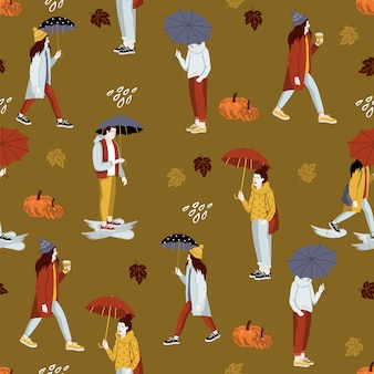 Autumn seamless pattern with people.