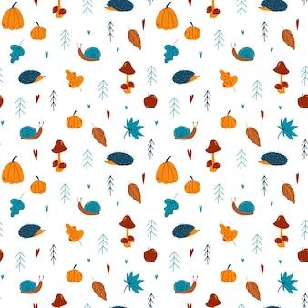 カボチャナナカマドトウヒドングリキノコハリネズミの葉カタツムリと秋のシームレスパターン