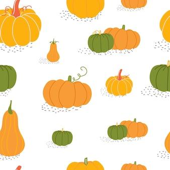 Autumn seamless pattern with pumpkin on white background