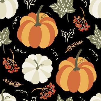 Autumn seamless pattern with pumpkin.