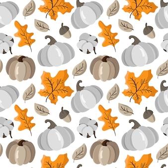カボチャ、葉、どんぐり、綿の秋のシームレスパターン。