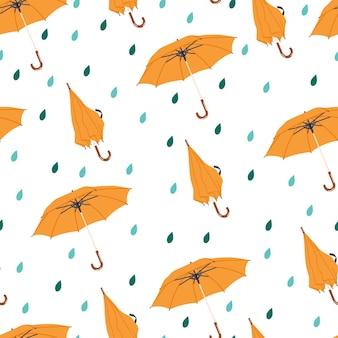 Autumn seamless pattern with rain and umbrella