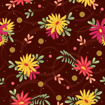 Autumn seamless pattern with red and yellow gerberas, leaves and abstract patterns