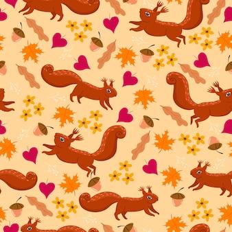 リスと秋のシームレスパターン。