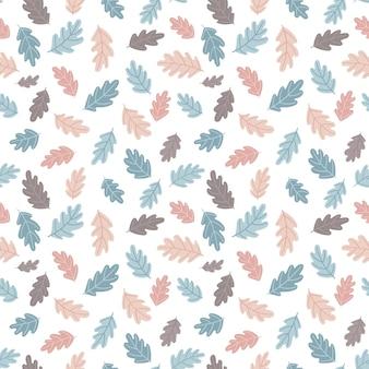 Осенний фон со стилизованными дубовыми листьями. симпатичный дизайн для ткани, текстиля и осеннего декора. плоский стиль пастельная палитра. векторные иллюстрации, изолированные на белом фоне.