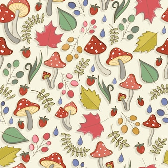 Autumn seamless pattern with toadstool amanita fly agaric mushrooms tree leafs strawberries
