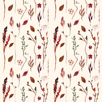 Autumn seamless pattern with watercolor