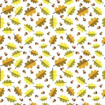 Autumn seamless pattern yellow leaves ornament fall season