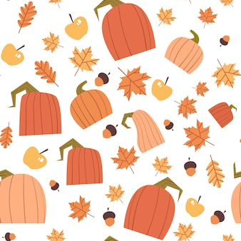 Autumn seamless pattern yellow leaves and pumpkins ornament fall season