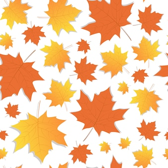 Autumn seamless pattern yellow maple leaves ornament fall season
