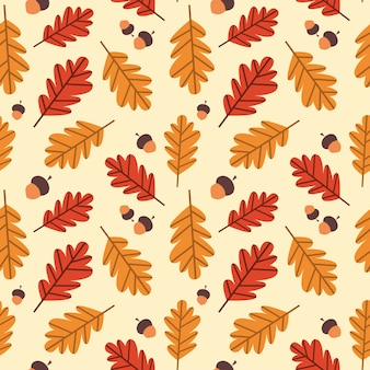 Autumn seamless pattern yellow oak leaves ornament fall season