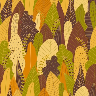 Autumn seamless patterns background in warm tone.