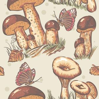 Autumn seamless texture of mushrooms and autumn leaves