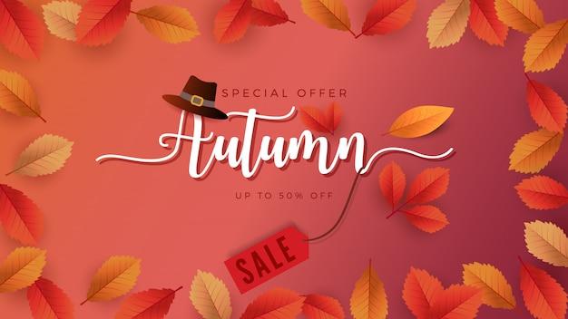Autumn season background for sale promotion banner