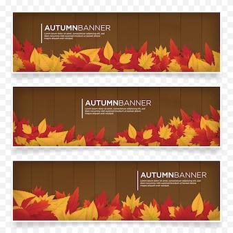 Шаблон баннера осеннего сезона с кленовыми листьями