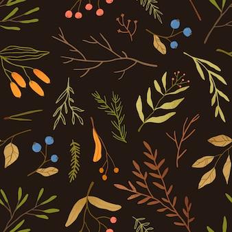 秋の季節植物学フラットシームレスパターン。乾燥した葉と枝のテクスチャ。ブルーベリーは黒い背景に小枝します。秋シーズンの標本のテクスチャ。森の果実繊維、壁紙デザイン。