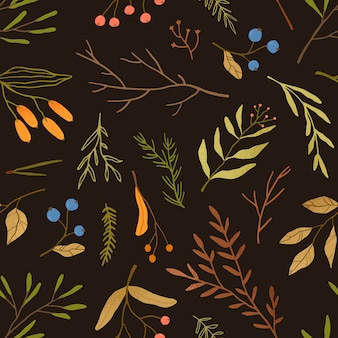Autumn season botany flat seamless pattern. dried leaves and branches texture. blueberries twigs on black background. fall season herbarium texture. forest berries textile, wallpaper design.
