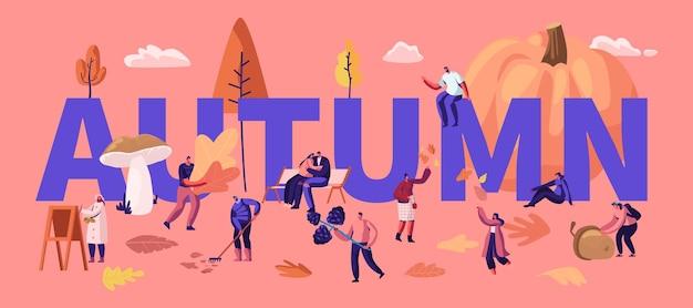 Autumn season concept. happy characters spend time outdoors pick up fallen leaves, mushrooms, berries, pumpkin. fall outdoor activity poster banner flyer brochure. cartoon flat vector illustration