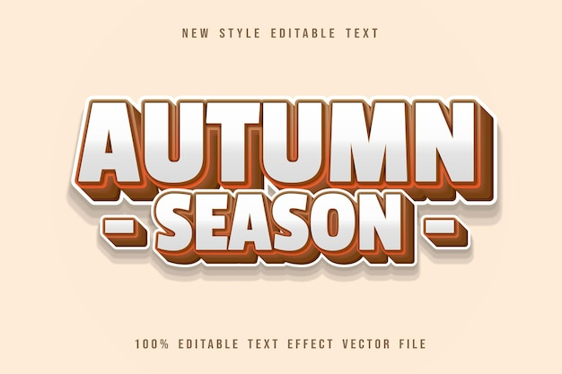 Осенний сезон редактируемый текстовый эффект мультяшном стиле