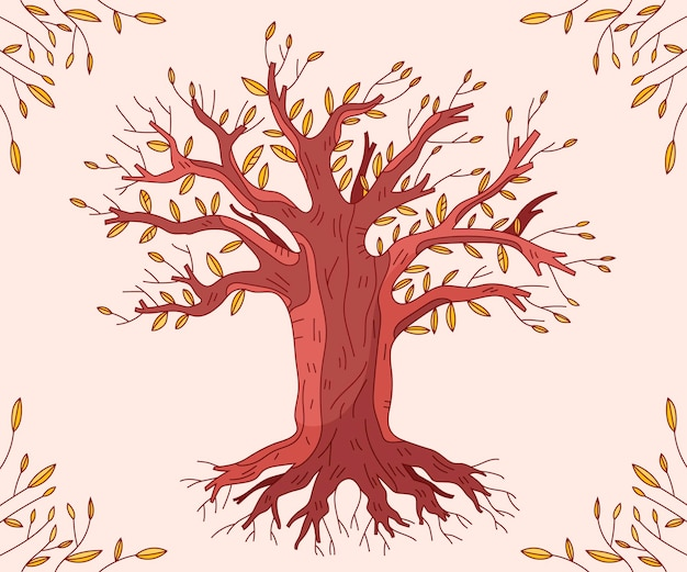 Autumn season hand drawn tree life