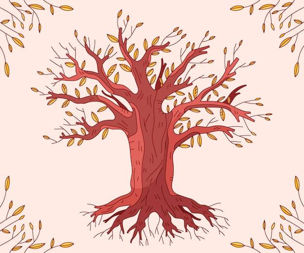 秋の季節の手描きの木の生活
