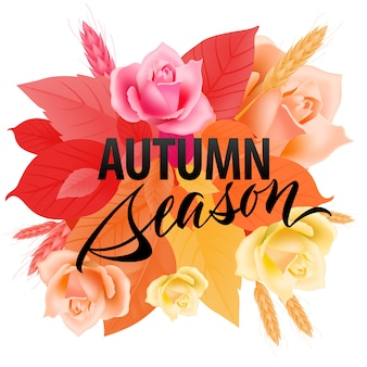 Осенние сезонные надписи с разноцветными листьями. современная творческая надпись