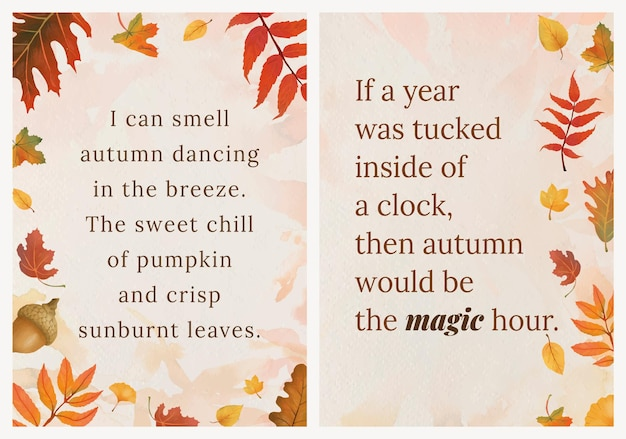 Autumn season quote template vector set for poster