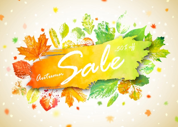 Autumn season sale banner. concept autumn advertising with hand drawn watercolor fall leaves