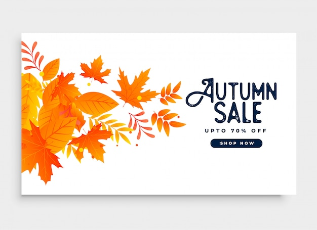 Autumn season sale banner design with leaves